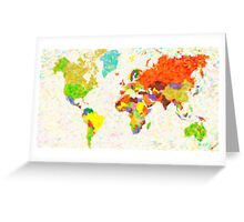 maps pointilism World Map with leaves Greeting Card