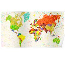 maps pointilism World Map with leaves Poster