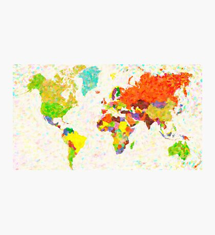 maps pointilism World Map with leaves Photographic Print