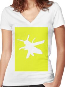Wasp silhouette Women's Fitted V-Neck T-Shirt