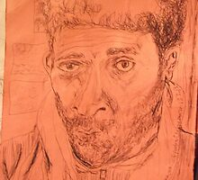 Self-portrait -(130313)- black biro pen/A4 sketchpad by paulramnora