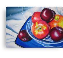 Fruit on blue china Canvas Print