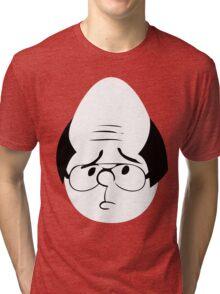 Karl Pilkington Twitter Egg With Sideburns Tri-blend T-Shirt