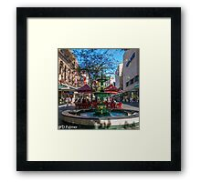 Rundle Mall - Fountain, cafe, Looking down the Mall Framed Print