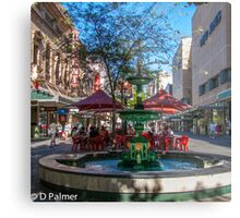 Rundle Mall - Fountain, cafe, Looking down the Mall Metal Print