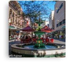 Rundle Mall - Fountain, cafe, Looking down the Mall Canvas Print