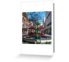 Rundle Mall - Fountain, cafe, Looking down the Mall Greeting Card