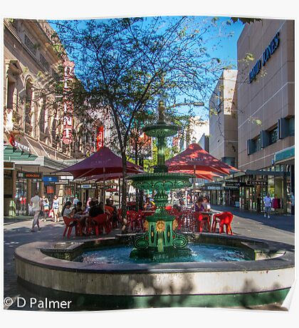 Rundle Mall - Fountain, cafe, Looking down the Mall Poster