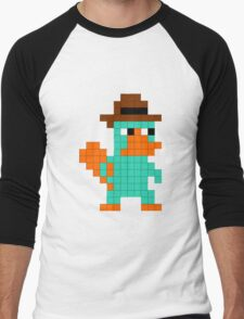Pixel Perry the Platypus Men's Baseball ¾ T-Shirt