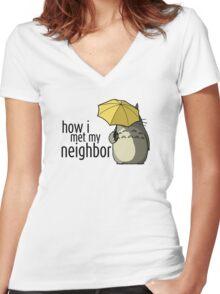 How I Met My Neighbor Women's Fitted V-Neck T-Shirt