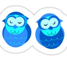 Four Blue Owls Sticker