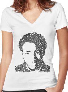 Childish Gambino Portrait Women's Fitted V-Neck T-Shirt