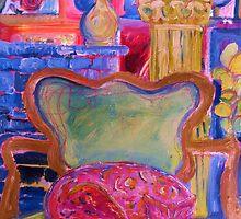 Pink Cat in Green Chair by artqueene