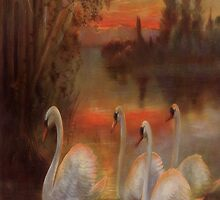 Vintage Gorgeous Swans on the Lake - iPad Case by AdrianeJ