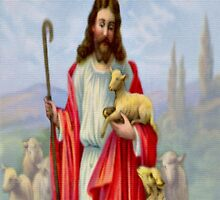 Vintage Jesus Christ Holding a Lamb - iPad Case by AdrianeJ