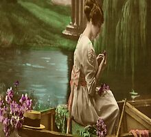 Vintage Lady in a Boat - iPad Case by AdrianeJ