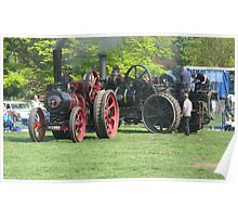 2 Working Steam Traction Engines, Nottingham Poster