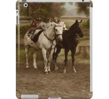 Vintage Little Girl , Boy and Two Horses - iPad Case iPad Case/Skin