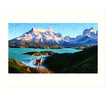 Torres del Paine National Park and the Llama, Chile Art Print
