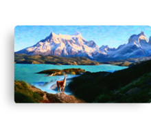 Torres del Paine National Park and the Llama, Chile Canvas Print