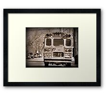 The School Bus-Sepia Framed Print