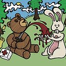 Teddy Bear And Bunny - Giving Blood by Brett Gilbert