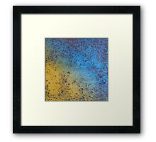 Blue Yellow Background - Rusty metal texture Framed Print