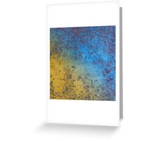Blue Yellow Background - Rusty metal texture Greeting Card
