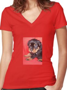Cute Rottweiler Puppy With Food On Muzzle Women's Fitted V-Neck T-Shirt