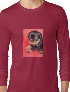 Cute Rottweiler Puppy With Food On Muzzle Long Sleeve T-Shirt