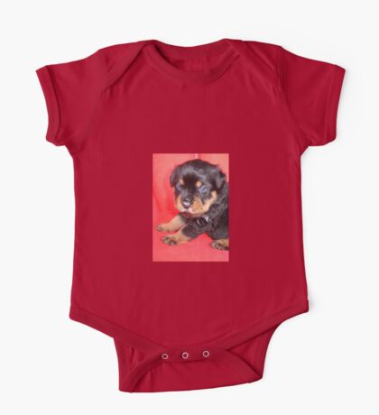 Cute Rottweiler Puppy With Food On Muzzle One Piece - Short Sleeve