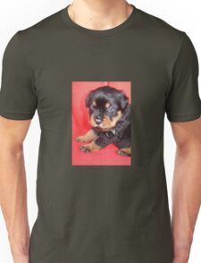 Cute Rottweiler Puppy With Food On Muzzle Unisex T-Shirt