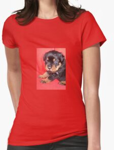 Cute Rottweiler Puppy With Food On Muzzle Womens Fitted T-Shirt