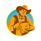 Pig Farmer Holding Piglet Front Retro by retrovectors
