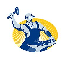 Blacksmith Farrier With Hammer Horseshoe Retro by retrovectors