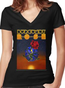 Burgundy Rose: The Wizards Crystal Women's Fitted V-Neck T-Shirt
