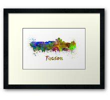 Tucson skyline in watercolor Framed Print
