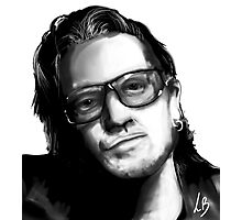 Digital portrait of Bono - U2 Photographic Print