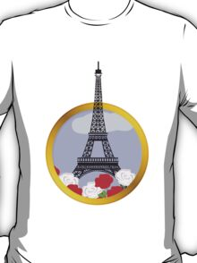 Eiffel tower in round frame T-Shirt