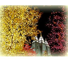 Evening Lights in Salt Lake City - Christmas Photographic Print