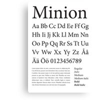 Typography Poster Minion Alphabet Canvas Print