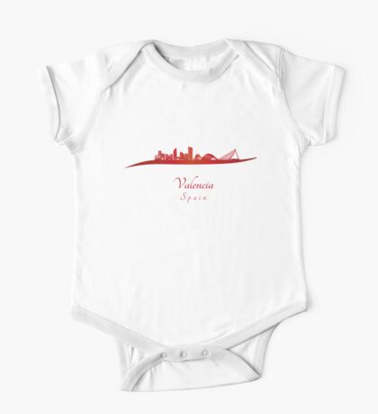 Valencia skyline in red One Piece - Short Sleeve