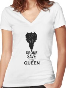 Drone Save The Queen Women's Fitted V-Neck T-Shirt