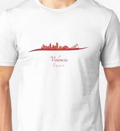 Valencia skyline in red Unisex T-Shirt