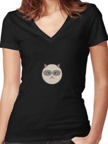 Minimal Grumpy Cat Women's Fitted V-Neck T-Shirt