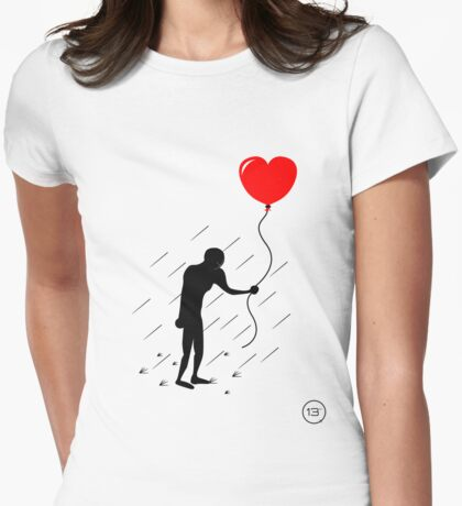 Heart in the Rain Womens Fitted T-Shirt