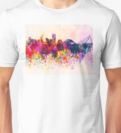 Valencia skyline in watercolor background Unisex T-Shirt