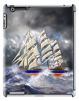 Cutty Sark in Heavy Seas iPad case by Dennis Melling