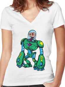BRAIN ALIEN ROBOT Women's Fitted V-Neck T-Shirt
