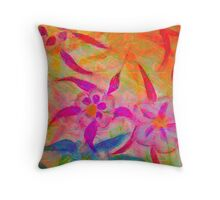 Abstact Columbine Flowers in Chalk and Pastel Oils Throw Pillow
